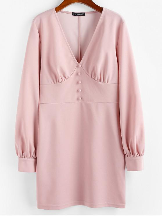 ZAFUL鈕扣長袖連衣裙 - 淡粉色 S