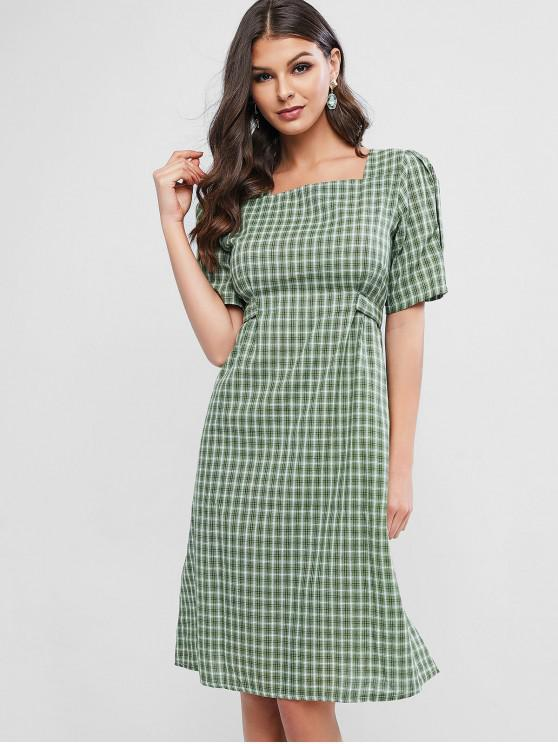 outfits Plaid Tie Puff Sleeve Milkmaid Dress - LIGHT GREEN ONE SIZE