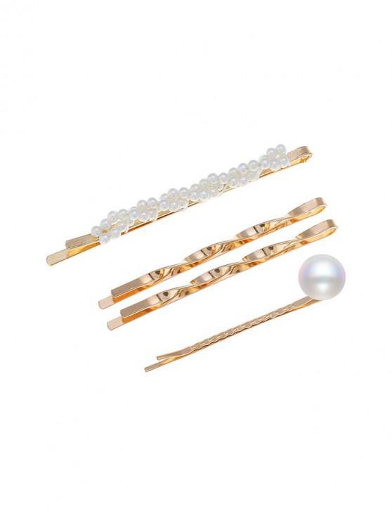 4Pcs Faux Pearl Twist Hairpins Set - ذهب
