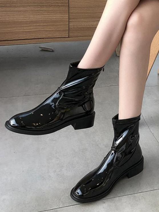 latest Plain Patent Leather Low Heel Ankle Boots - BLACK EU 35