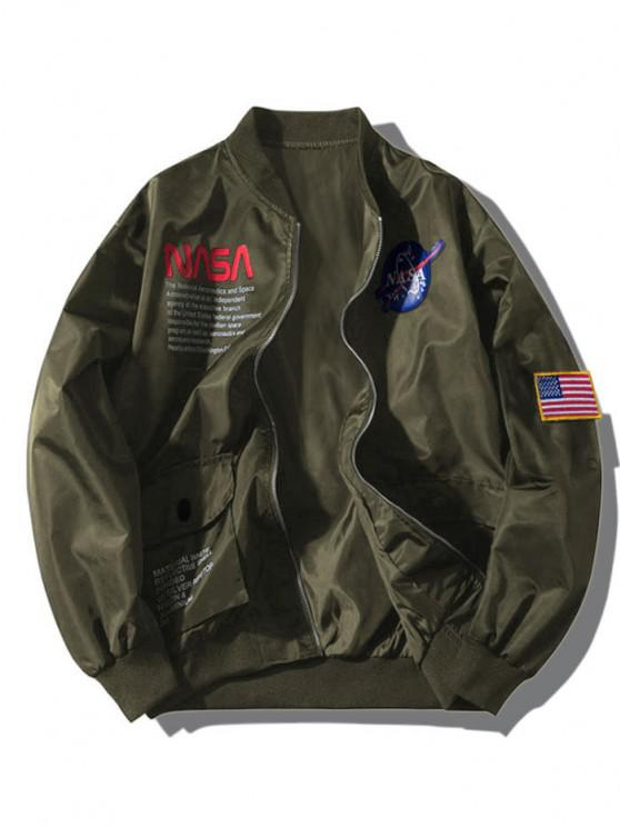 shop ZAFUL Letter Graphic Embroidery American Flag Applique Pocket Jacket - ARMY GREEN L