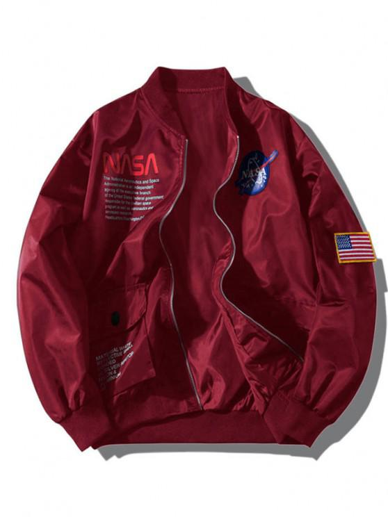 fashion ZAFUL Letter Graphic Embroidery American Flag Applique Pocket Jacket - RED WINE M