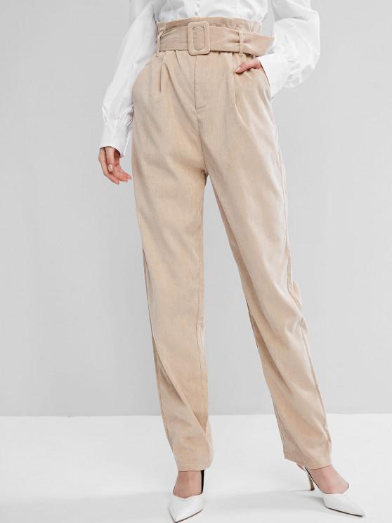 Calças de Veludo Cotelê com Cinto - Cáqui Claro XL