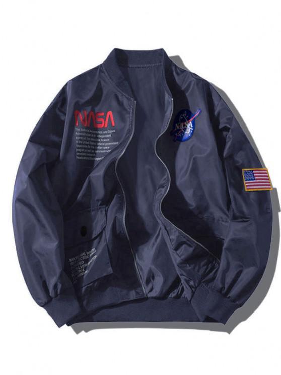 ZAFUL Buchstabe Grafik-Stickerei-Amerikanische Flagge Applikationen Tasche Jacke - Kadettenblau S