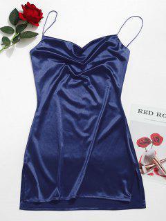 Side Slit Satin A Line Cami Dress - Deep Blue L