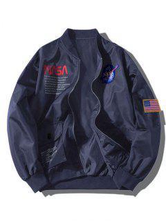 ZAFUL Giacca Tascabile Con Applique Bandiera Americana Ricamo Bandiera Grafica - Cadetblue S
