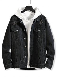Solid Color Ripped Decorated Denim Jacket - Black 3xl