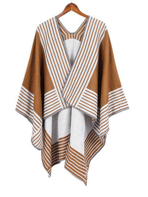 ladies Stripe Pattern Open Front Poncho Cape - CARAMEL REGULAR Mobile