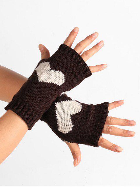 Принт сердца Вязаные Перчатки Без пальцев - Кофейный  Mobile
