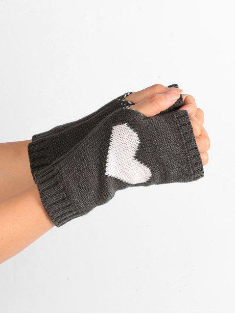 chic Heart Pattern Knitted Fingerless Gloves - NIGHT  Mobile