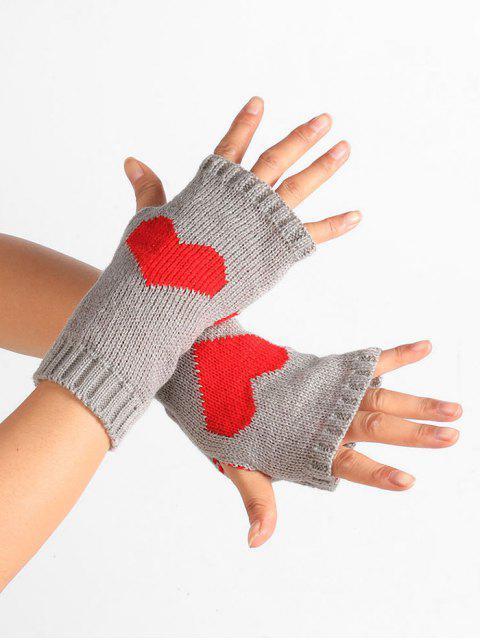fancy Heart Pattern Knitted Fingerless Gloves - LIGHT GRAY  Mobile