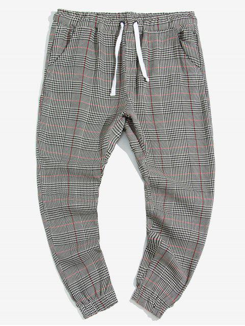 Pantalones Jogger de Estampado de Pata de Gallo Doble de Bolsillo - Multicolor S Mobile