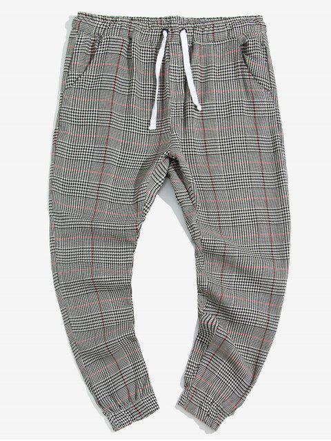 Pantalones Jogger de Estampado de Pata de Gallo Doble de Bolsillo - Multicolor 2XL Mobile