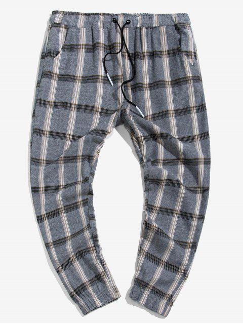 women Drawstring Plaid Print Casual Jogger Pants - MULTI S Mobile