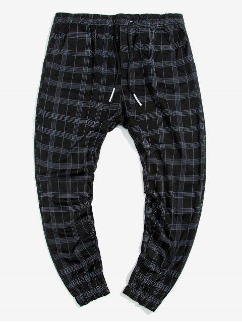 unique Plaid Print Double Pockets Drawstring Jogger Pants - MULTI XL Mobile