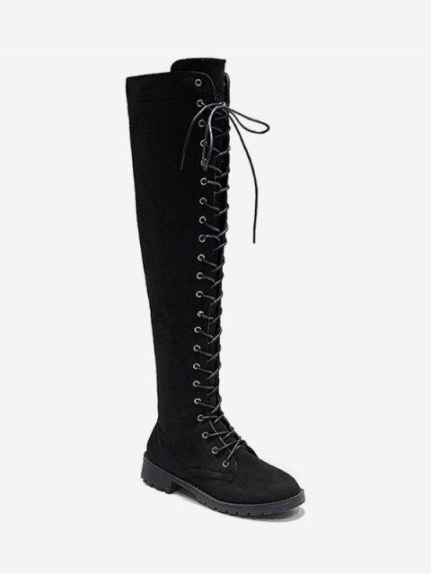 latest Solid Lace Up Over The Knee Boots - BLACK EU 36 Mobile