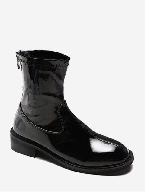 latest Plain Patent Leather Low Heel Ankle Boots - BLACK EU 35 Mobile