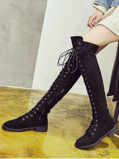 buy Solid Lace Up Over The Knee Boots - BLACK EU 35 Mobile