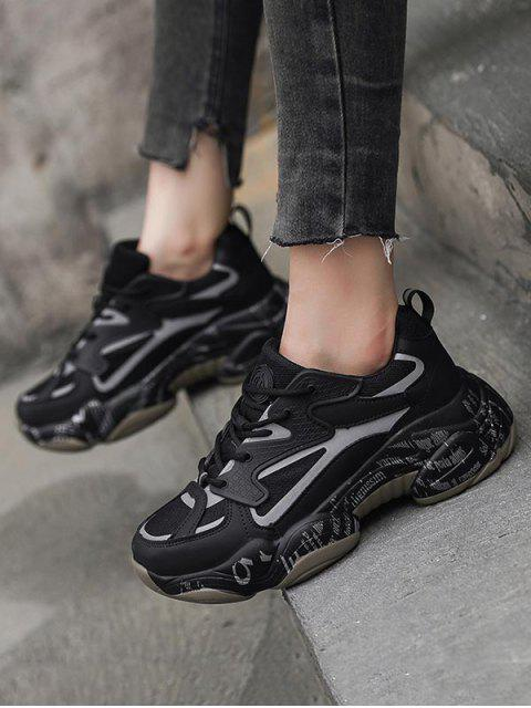 new Letter Midsole Low Top Outdoor Sneakers - BLACK EU 34 Mobile