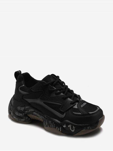 chic Letter Midsole Low Top Outdoor Sneakers - BLACK EU 37 Mobile