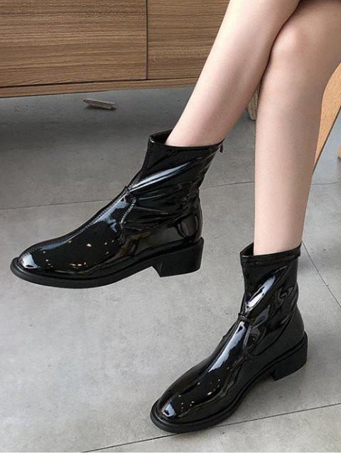 women's Plain Patent Leather Low Heel Ankle Boots - BLACK EU 36 Mobile
