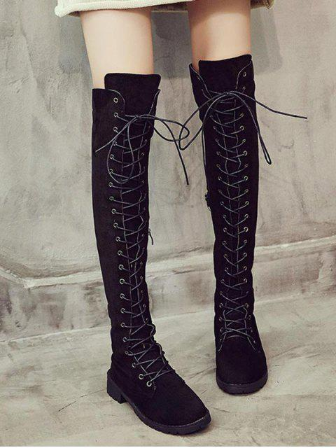 affordable Solid Lace Up Over The Knee Boots - BLACK EU 42 Mobile