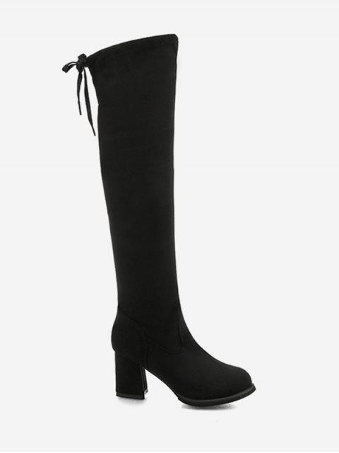 women's Tie Back Block Heel Thigh High Knight Boots - BLACK EU 37 Mobile