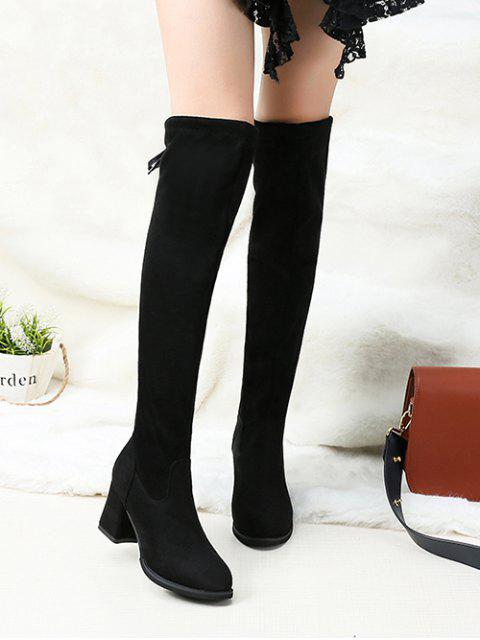 affordable Tie Back Block Heel Thigh High Knight Boots - BLACK EU 39 Mobile
