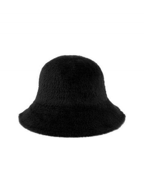 women's Winter Solid Faux Fur Bucket Hat - BLACK  Mobile