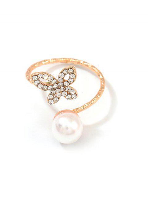Бабочка Ажурное Кольцо Искусственный жемчуг - Золотой  Mobile