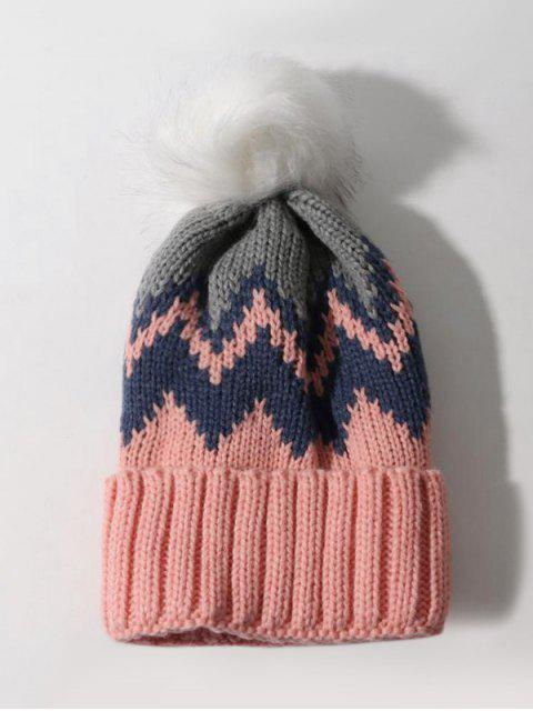 new Zigzag Pattern Knitted Bubble Hat - PINK  Mobile