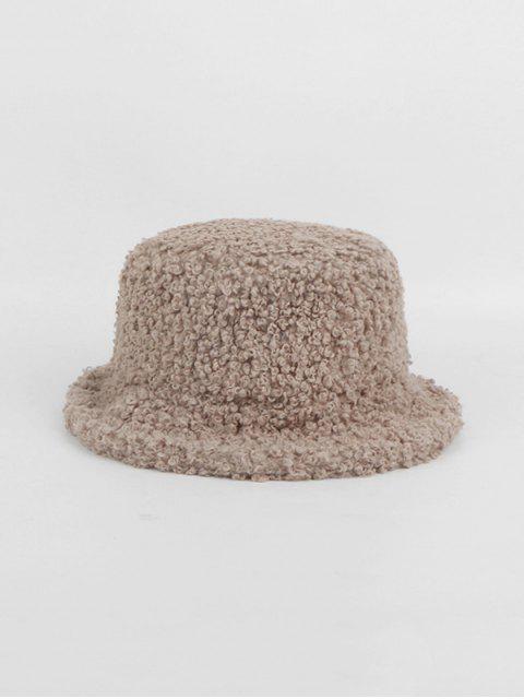 hot Winter Plush Solid Bucket Hat - KHAKI  Mobile