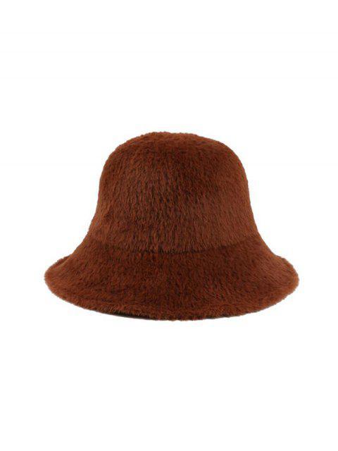 trendy Winter Solid Faux Fur Bucket Hat - COFFEE  Mobile