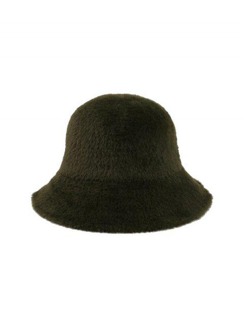 chic Winter Solid Faux Fur Bucket Hat - DARK GREEN  Mobile