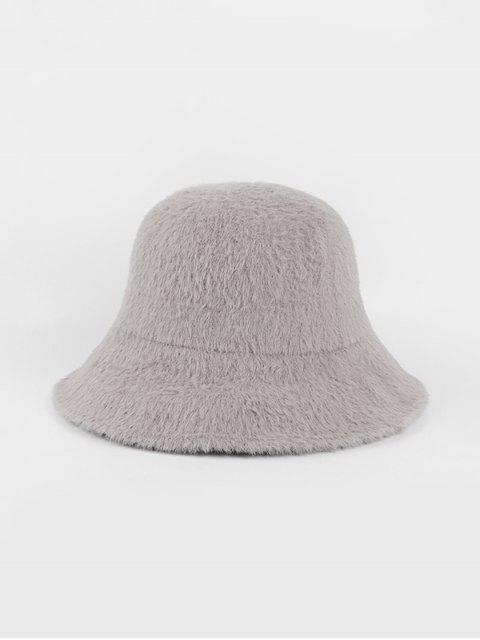 sale Winter Solid Faux Fur Bucket Hat - GRAY  Mobile