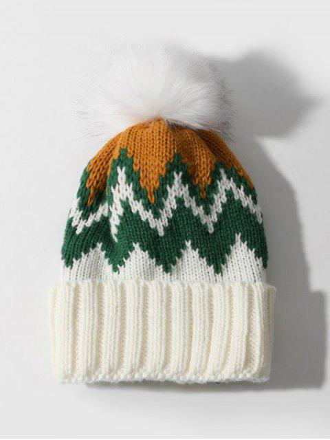 buy Zigzag Pattern Knitted Bubble Hat - WHITE  Mobile