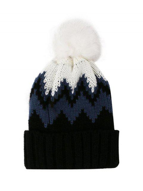 lady Zigzag Pattern Knitted Bubble Hat - BLACK  Mobile