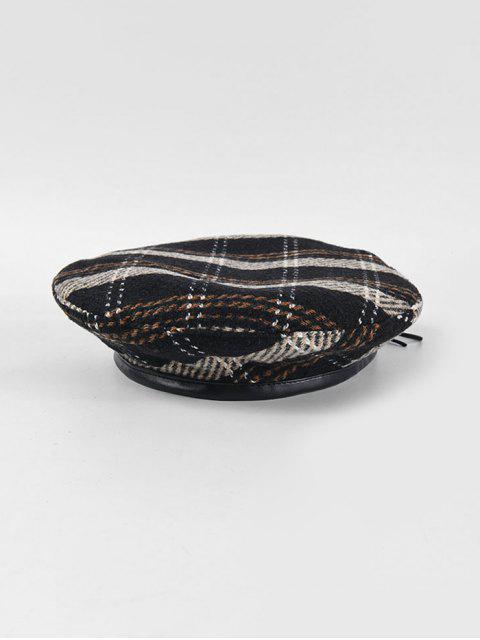 Invierno a cuadros plana sombrero de la boina - Negro  Mobile