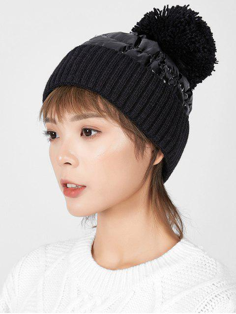 best Fuzzy Ball Knitted Winter Hat - BLACK  Mobile
