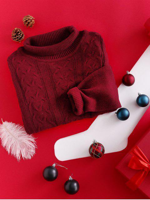 ZAFUL Robe Pull de Noël Fendue en Tricot à Câble à Col Haut - Rouge Vineux XL Mobile