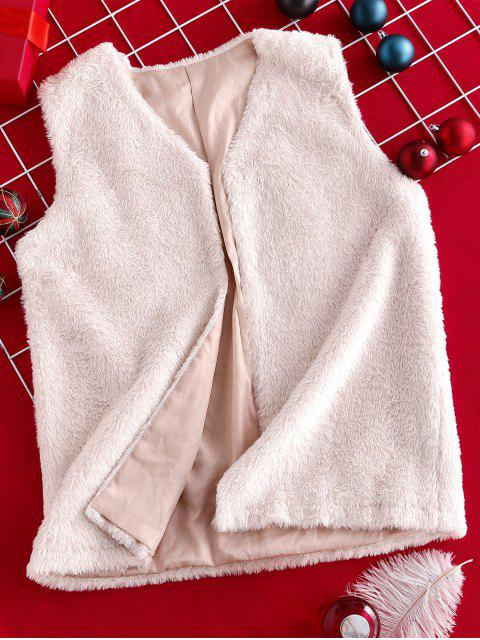 unique ZAFUL Faux Fur Open Collarless Fluffy Gilet - SAKURA PINK M Mobile