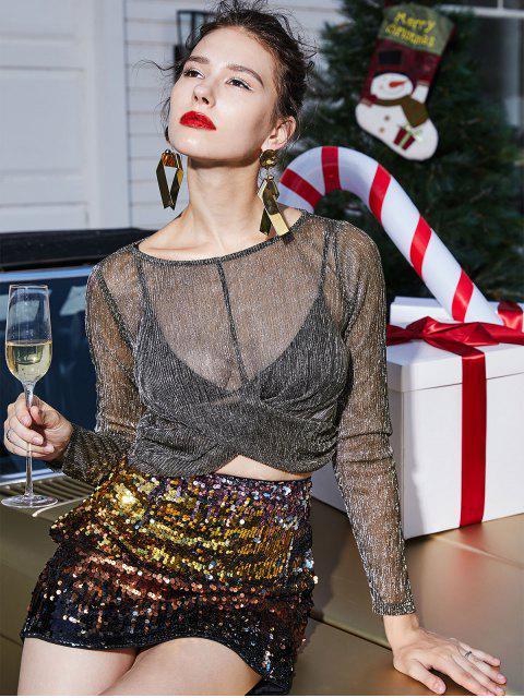 ZAFUL T-Shirt Métallique Tordu Transparent à Manches Longues - Champagne Or XL Mobile