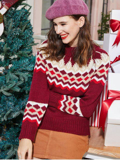 affordable ZAFUL Mock Neck Intarsia Knit Graphic Christmas Sweater - MULTI S Mobile