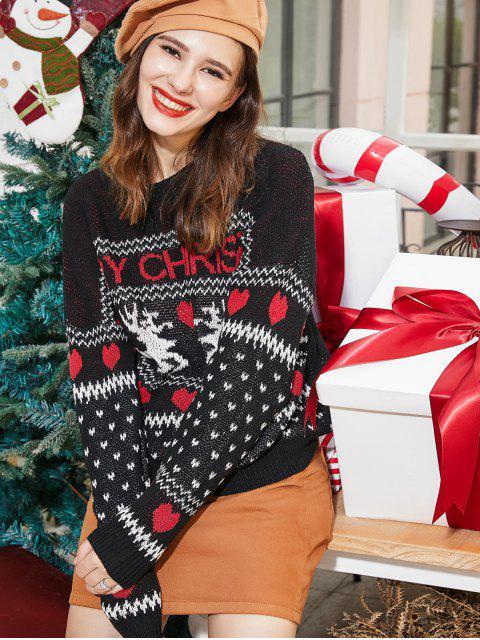 ZAFULクリスマスハートエルクグラフィックドロップショルダーセーター - ブラック XL Mobile