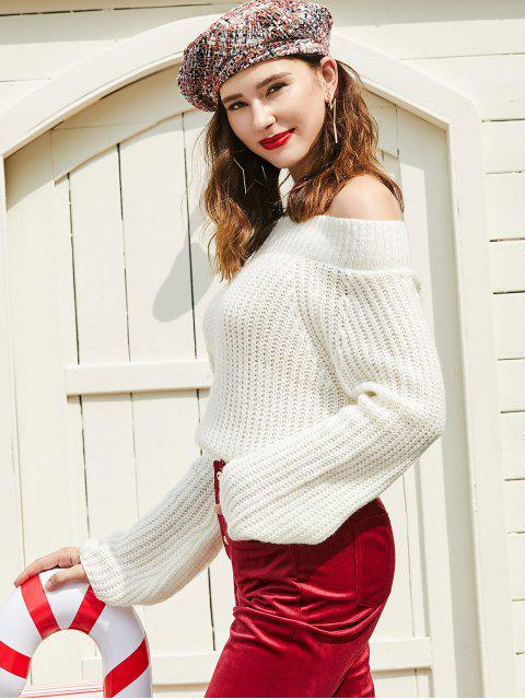 new ZAFUL Off Shoulder Solid Chunky Sweater - WARM WHITE L Mobile