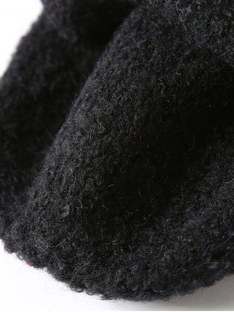 lady Solid Unisex Knitted Skullcap Hat - BLACK  Mobile