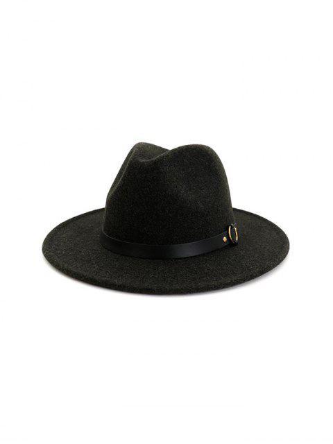 unique Buckle Belt Flat Brim Jazz Hat - BLACK  Mobile
