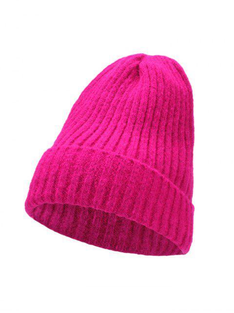 Chapeau d'Hiver Chic Tressé Tricoté - Rouge Rose  Mobile