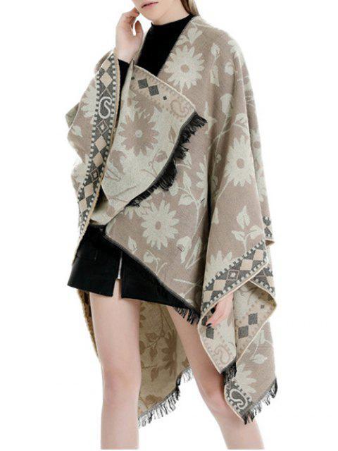 buy Ethnic Flower Fringe Split Shawl - CORN YELLOW REGULAR Mobile