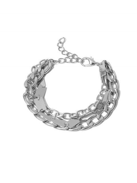 shop Chain Metallic Punk Bracelet - SILVER  Mobile